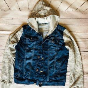 Soft Hooded Long Sleeve Sweatshirt Jean Jacket